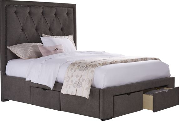 Elridge Granite 3 Pc King Upholstered Bed with 4 Drawer Storage