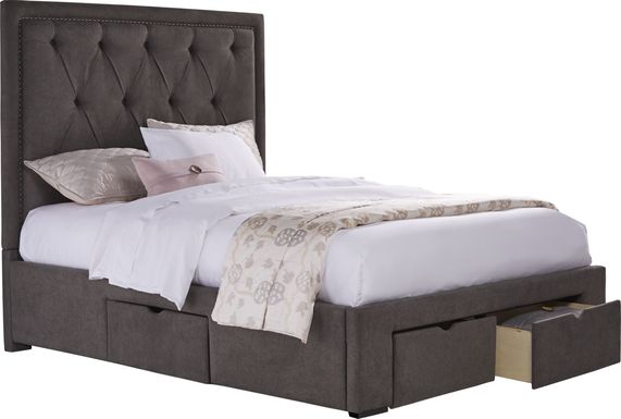 Elridge Granite 3 Pc Queen Upholstered Bed with 4 Drawer Storage