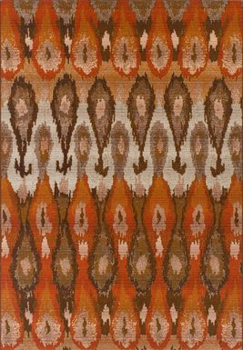 Elsmere Orange 5'1 x 7' Indoor/Outdoor Rug