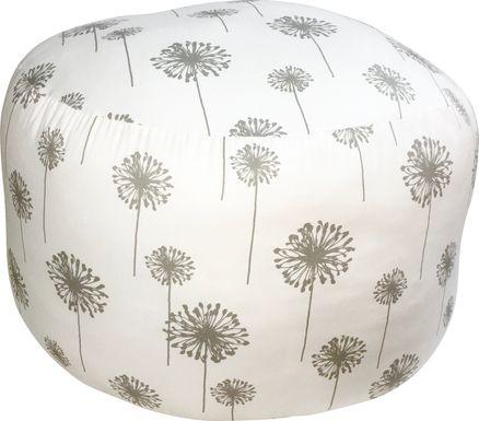 Elva Light Gray Round Pouf