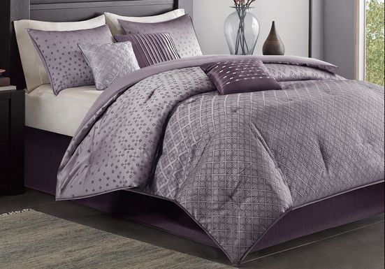 Elyse Purple 7 Pc King Comforter Set