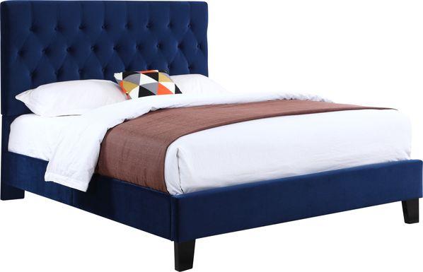 Emeline Navy Blue Twin Upholstered Bed