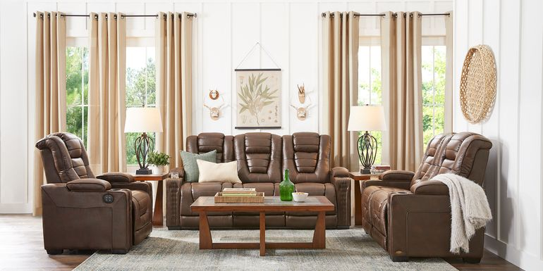 Eric Church Highway To Home Chief Brown 8 Pc Living Room with Dual Power Reclining Sofa