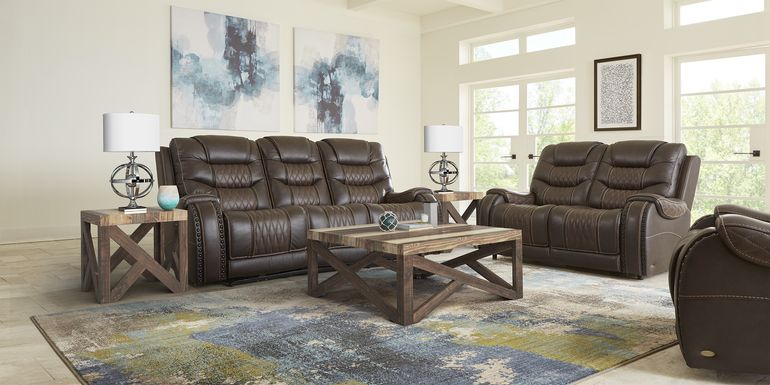 Eric Church Highway To Home Headliner Brown Leather 5 Pc Living Room with Reclining Sofa