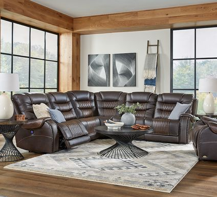 Eric Church Highway To Home Headliner Brown Leather 5 Pc Dual Power Reclining Sectional