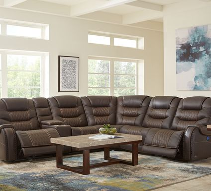 Eric Church Highway To Home Headliner Brown Leather 6 Pc Dual Power Reclining Sectional
