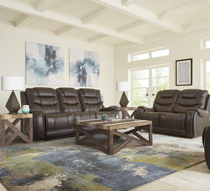 Eric Church Highway To Home Headliner Brown Leather 7 Pc Living Room with Reclining Sofa