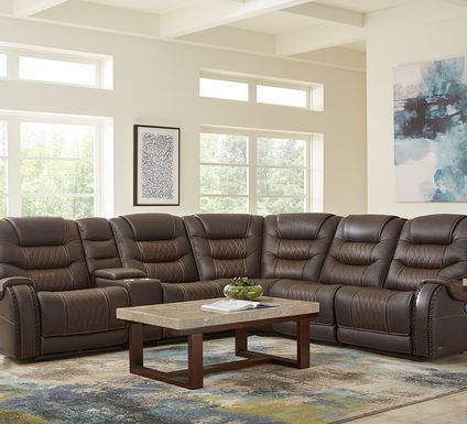 Eric Church Highway To Home Headliner Brown Leather 9 Pc Dual Power Reclining Sectional Living Room