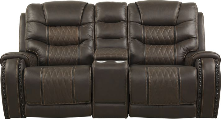 Eric Church Highway To Home Headliner Brown Leather Dual Power Reclining Console Loveseat