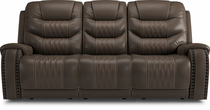 Eric Church Highway To Home Headliner Brown Leather Dual Power Reclining Sofa