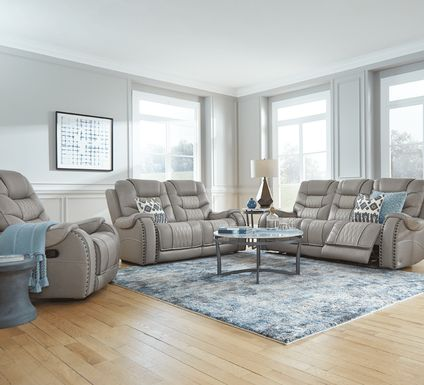 Eric Church Highway To Home Headliner Gray Leather 5 Pc Living Room with Reclining Sofa