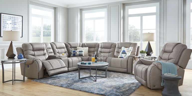 Eric Church Highway To Home Headliner Gray Leather 6 Pc Dual Power Reclining Sectional