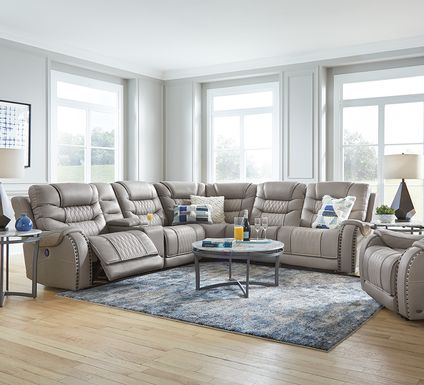 Eric Church Highway To Home Headliner Gray Leather 9 Pc Dual Power Reclining Sectional Living Room