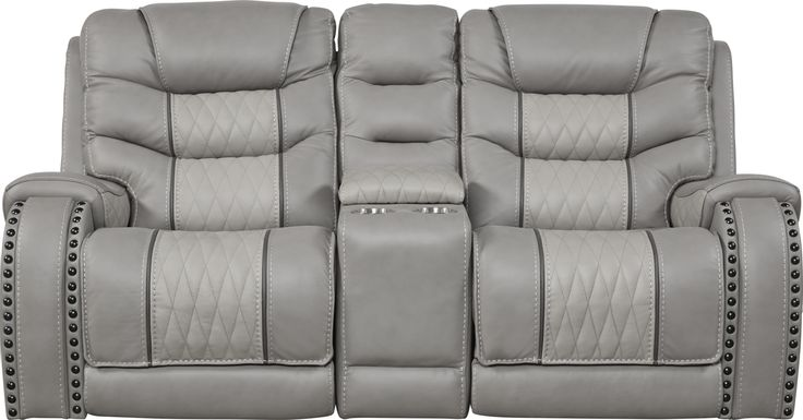 Eric Church Highway To Home Headliner Gray Leather Dual Power Reclining Console Loveseat