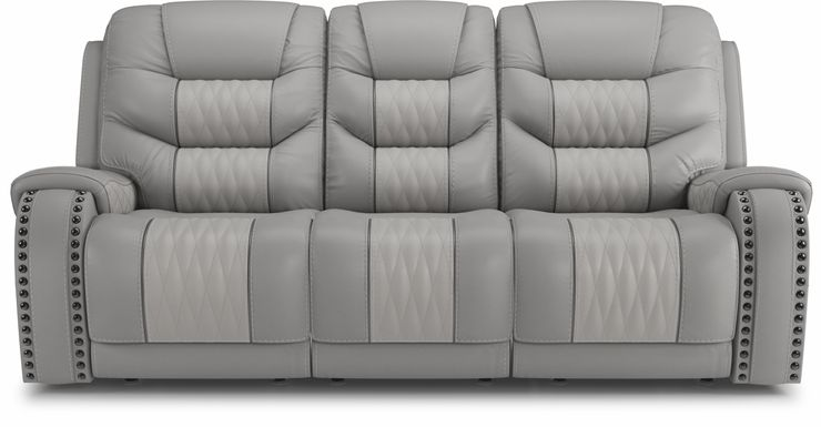 Eric Church Highway To Home Headliner Gray Leather Dual Power Reclining Sofa