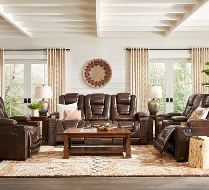 Eric Church Highway To Home Renegade Brown Leather 3 Pc Dual Power Reclining Living Room
