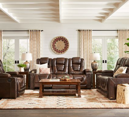Eric Church Highway To Home Renegade Brown Leather 3 Pc Living Room with Dual Power Reclining Sofa