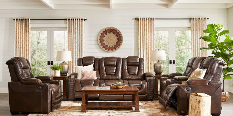 Eric Church Highway To Home Renegade Brown Leather 5 Pc Dual Power Reclining Living Room