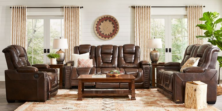 Eric Church Highway To Home Renegade Brown Leather 5 Pc Living Room with Dual Power Reclining Sofa