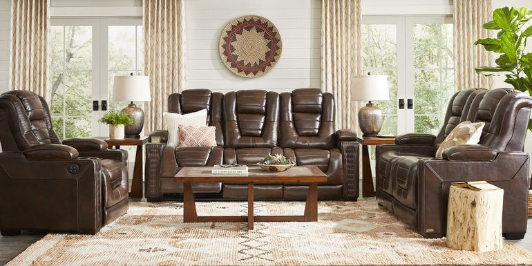 Eric Church Highway To Home Renegade Brown Leather 6 Pc Dual Power Reclining Living Room