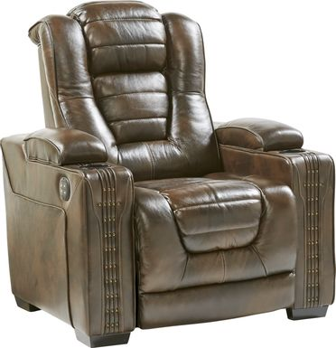 Eric Church Highway To Home Renegade Brown Leather Dual Power Recliner