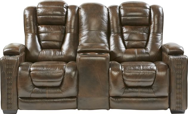 Eric Church Highway To Home Renegade Brown Leather Dual Power Reclining Console Loveseat