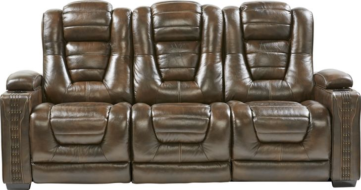 Eric Church Highway To Home Renegade Brown Leather Dual Power Reclining Sofa