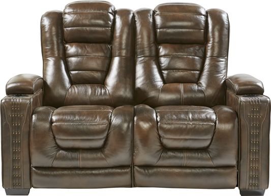 Eric Church Highway To Home Renegade Brown Leather Loveseat