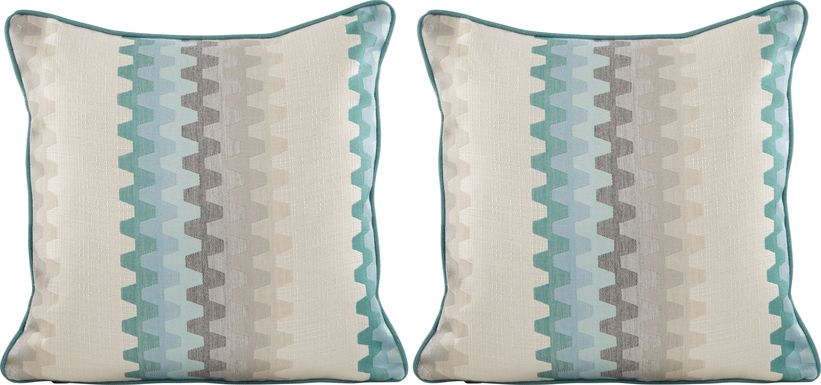 Accordian Geo Turquoise Indoor/Outdoor Accent Pillow, Set of Two