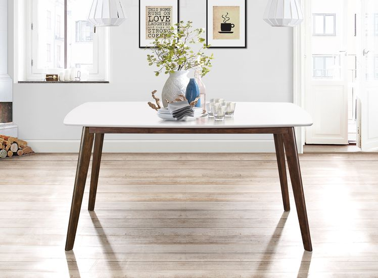 Fairlinks White Wooden Dining Table Featuring White Decor & Accents