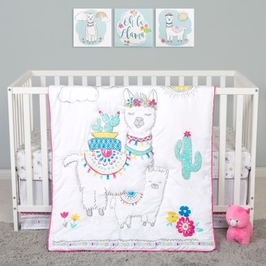 Fancy Llama White 4 Pc Baby Bedding Set