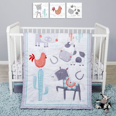 Farm Games White 4 Pc Baby Bedding Set