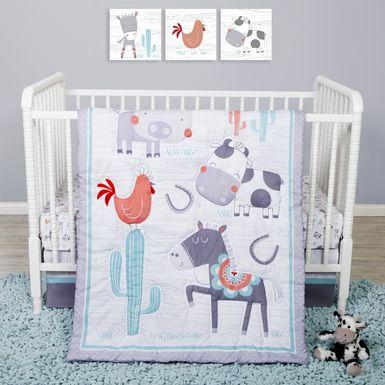 Farm Games White 4 Pc Baby Bedding Set