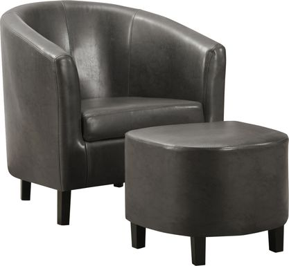 Ferncroft Gray Accent Chair & Ottoman