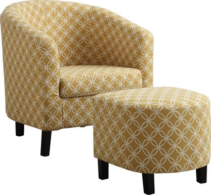 Ferncroft Yellow Accent Chair & Ottoman