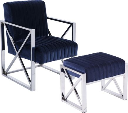 Fetteressa Blue Accent Chair & Ottoman
