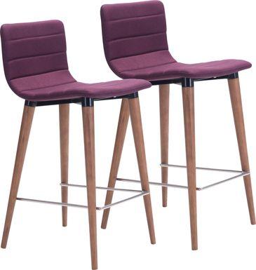 Fifer Purple Counter Height Stool, Set of 2