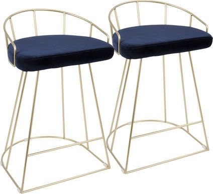 Filia Blue Counter Height Stool (Set of 2)