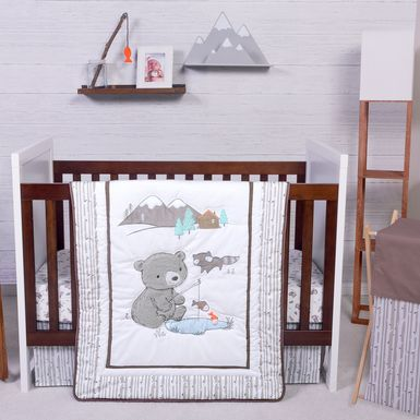 Fishing Friends Gray 3 Pc Baby Bedding Set