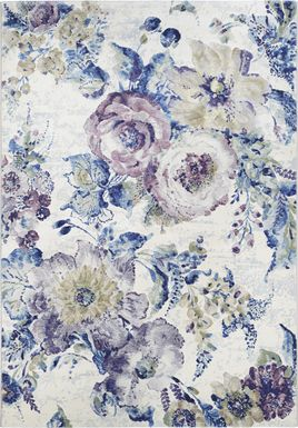 Floral Chic Blue 3'11 x 5'3 Rug