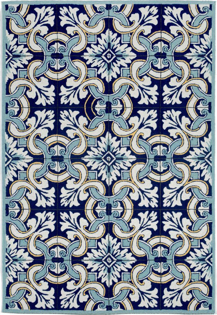 Floral Inlay Blue 7'6 x 9'6 Indoor/Outdoor Rug