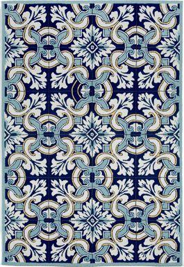 Floral Inlay Blue 8'3 x 11'6 Indoor/Outdoor Rug