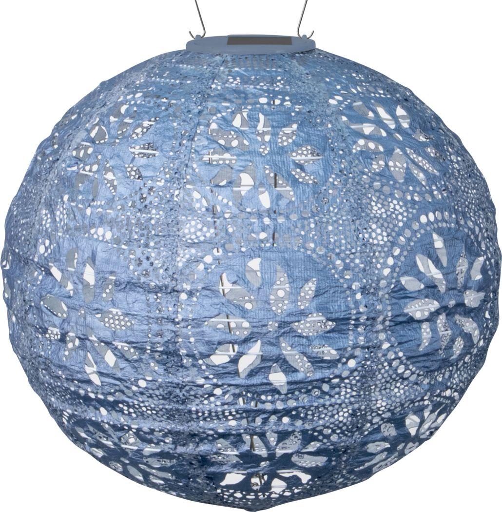 Floral Medallion Blue Outdoor Solar Lantern
