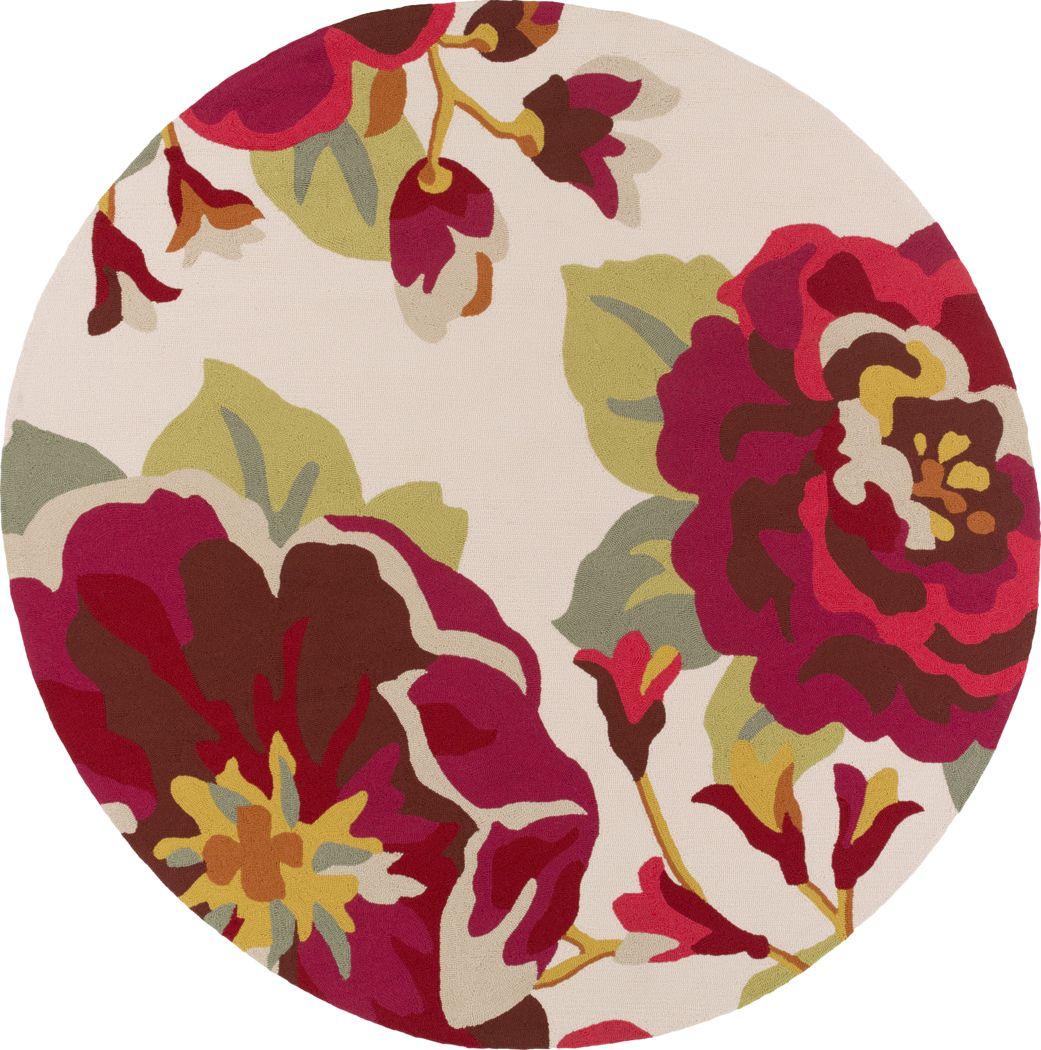 Florin Crimson 8' Round Indoor/Outdoor Rug