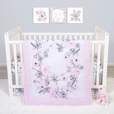 Flower Fantasy White 4 Pc Baby Bedding Set