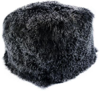 Fluffy Square Black Pouf