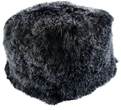 Fluffy Square Black Pouf