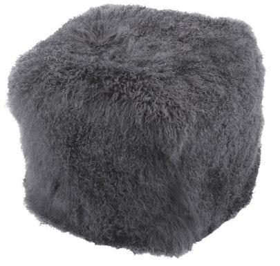Fluffy Square Gray Pouf