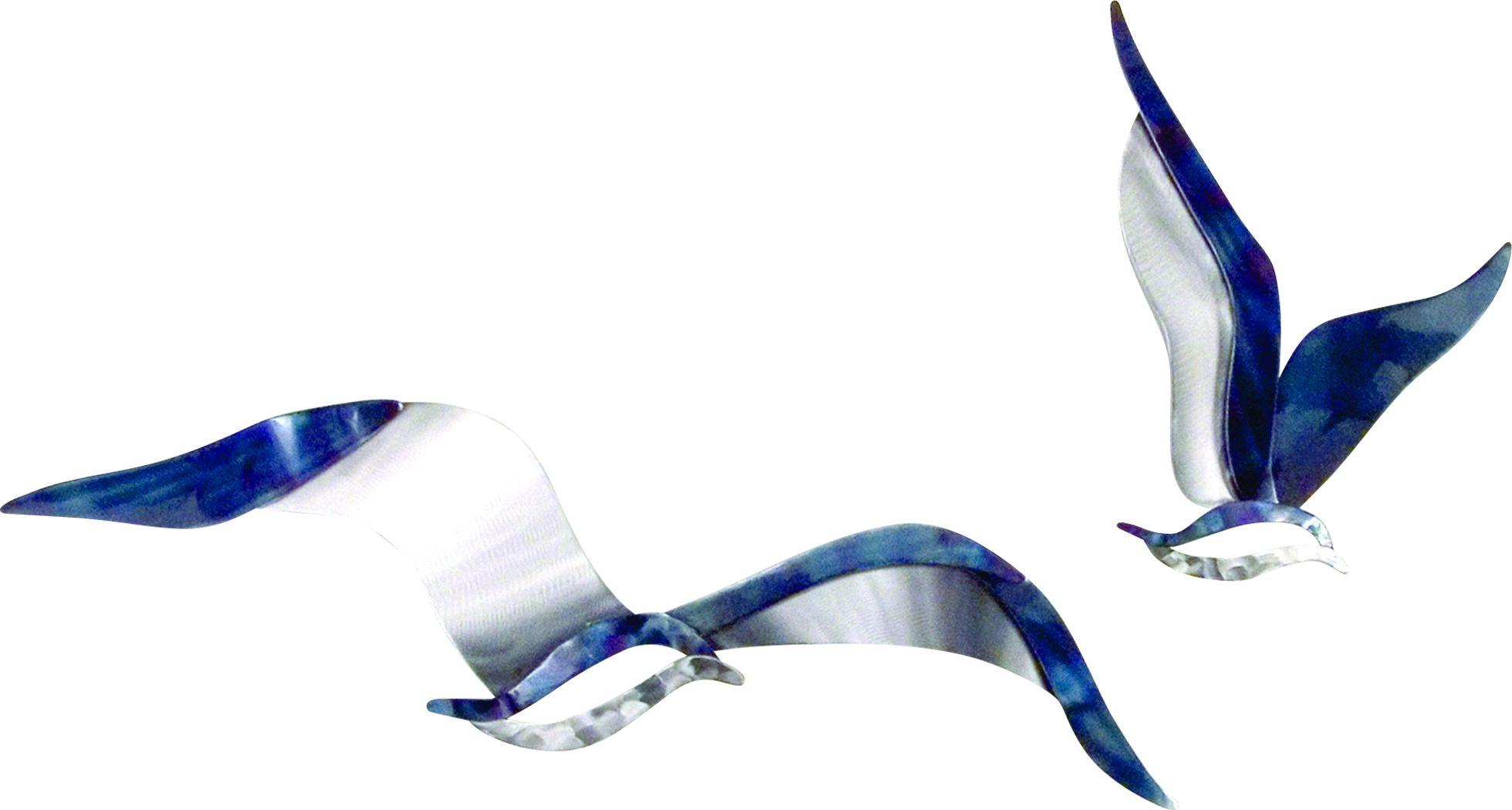 Flying Seagulls Blue Indoor/Outdoor Set of 2 Wall Decor