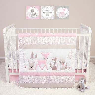Forest Pals Pink 4 Pc Baby Bedding Set